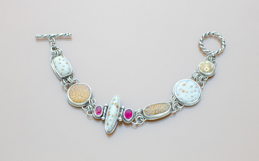 Petrified Palmwood Stone Bracelet with Pink Tourmalines