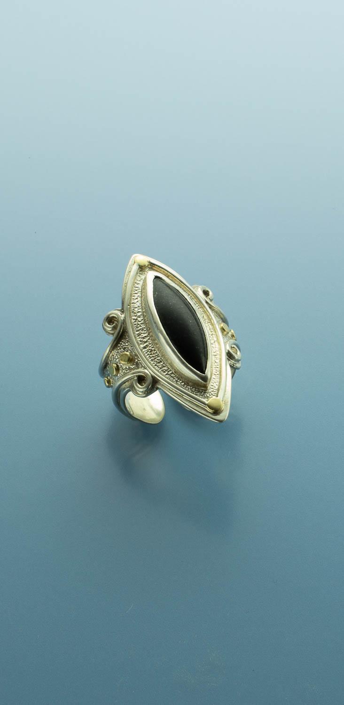 Sensuous Black Jade Marquise-Shaped Stone