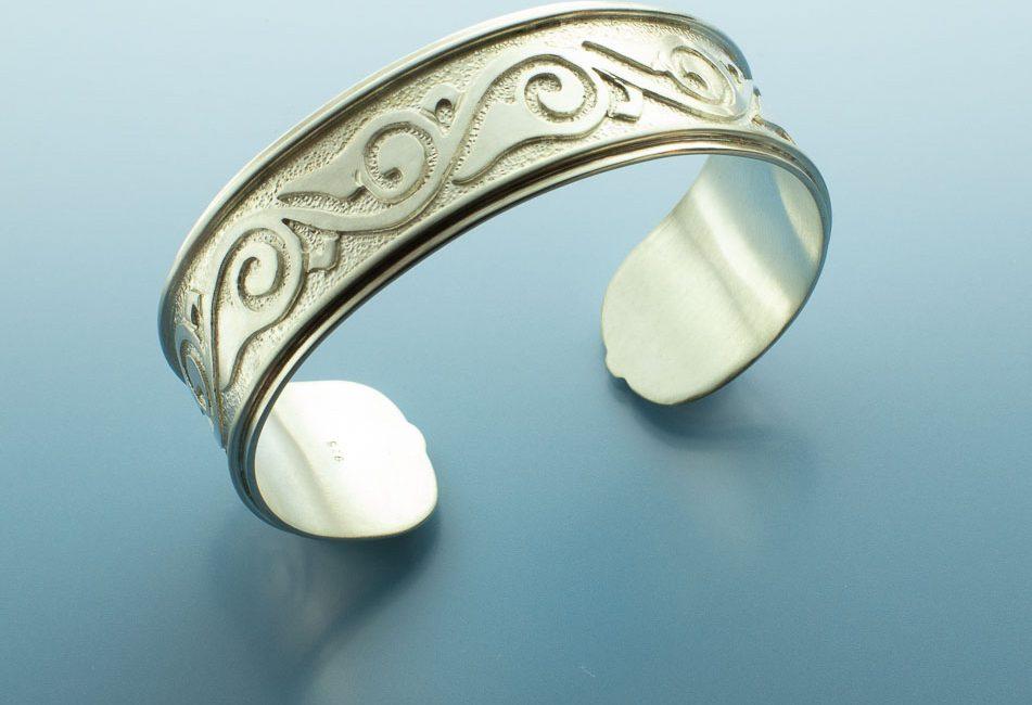 Motif Inspired Sterling Silver Bracelet Cuff
