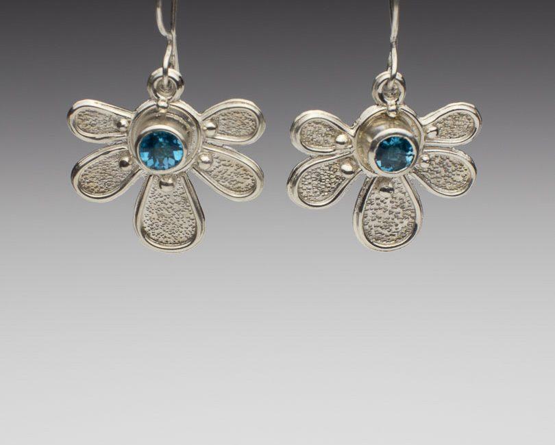 Brilliant Blue Topaz Half Daisy Earrings