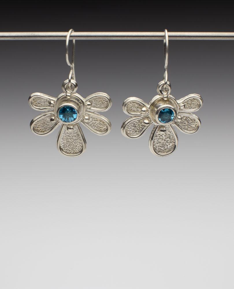 Brilliant Blue Topaz Half Daisy Earrings Image