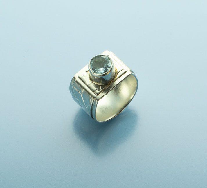 Contemporary Aquamarine Band Ring