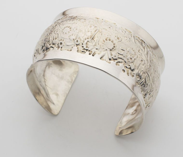 Whimsical Flower Etched Bracelet Cuff