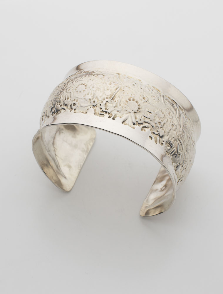 Whimsical Flower Etched Bracelet Cuff Image