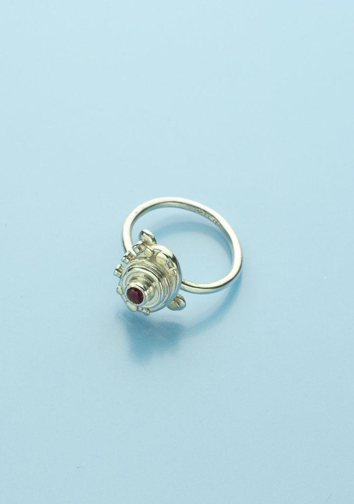 Red Zircon Stone Ring Image