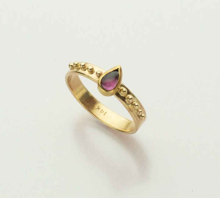 Pear Shaped Pink Tourmaline and Gold Granulation Ring