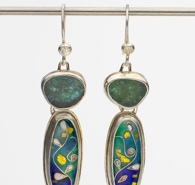 Teal and Blue Tourmaline Cloisonne Earrings (SOLD)