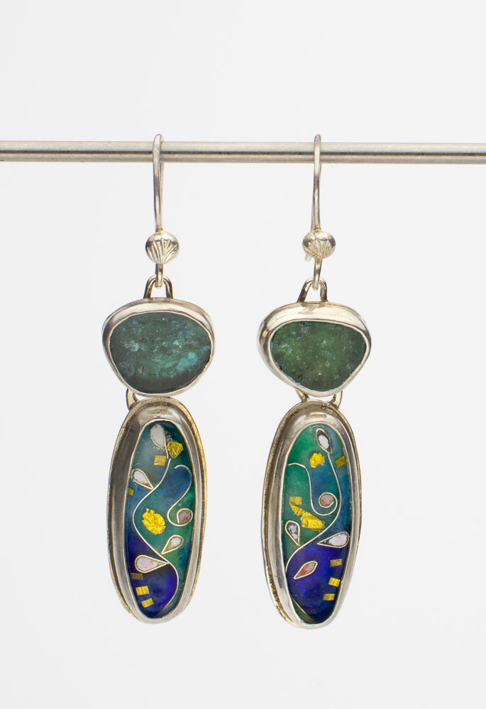 Teal and Blue Tourmaline Cloisonne Earrings Image
