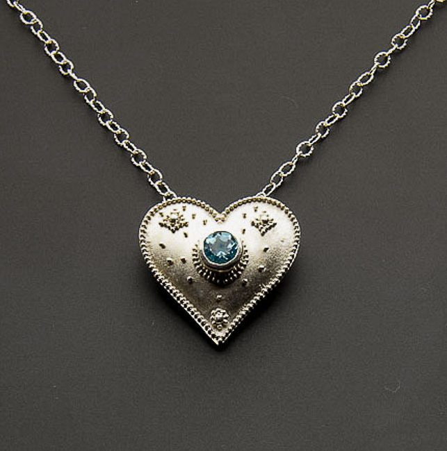 Granulated Heart with Blue Topaz (SOLD)