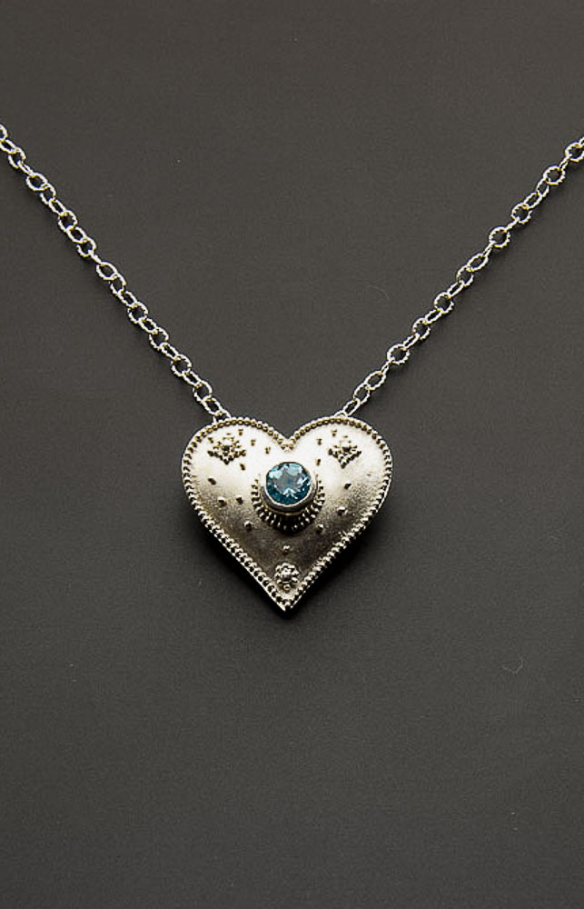 Granulated Heart with Blue Topaz (SOLD) Image